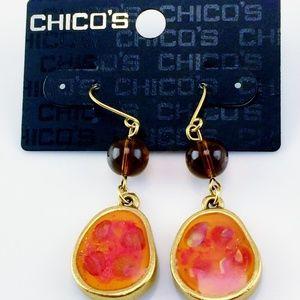 Jewelry - CHICOS EARRINGS ORANGE BROWN NEW ON CARD DANGLE